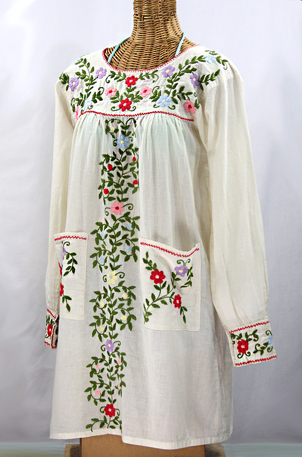 """La Bolsita"" Embroidered Folkloric Tunic Style Mini Dress - Off White + Multi"