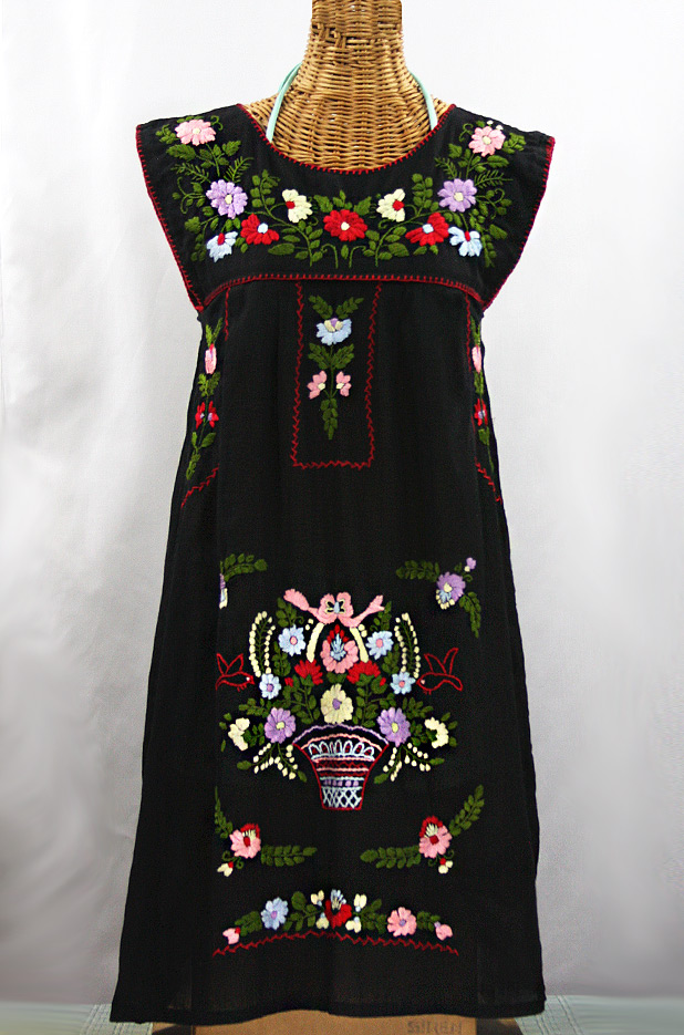 "60% Off Final Sale ""La Boqueria"" Embroidered Mexican Dress - Black + Multi"