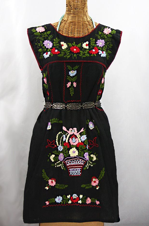 """""""La Boqueria"""" Embroidered Mexican Dress - Black + Multi"""