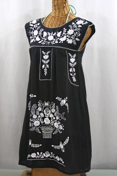"60% Off Final Sale ""La Boqueria"" Embroidered Mexican Dress - Black + White"