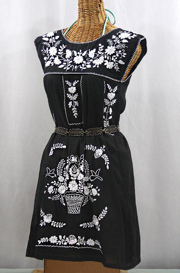 """60% Off Final Sale """"La Boqueria"""" Embroidered Mexican Dress - Black + White"""