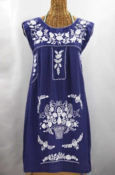 "60% Off Final Sale ""La Boqueria"" Embroidered Mexican Dress - Denim Blue + White"