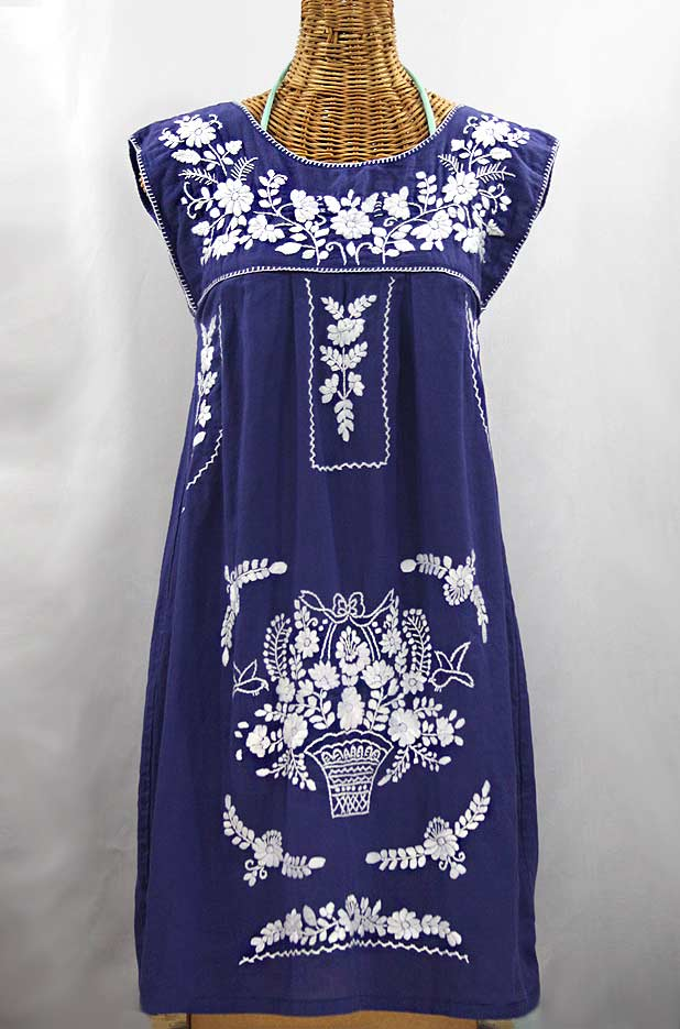 """La Boqueria"" Embroidered Mexican Dress - Denim Blue + White"