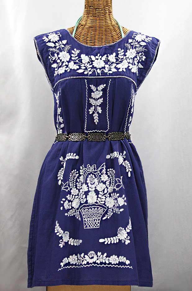 """60% Off Final Sale """"La Boqueria"""" Embroidered Mexican Dress - Denim Blue + White"""