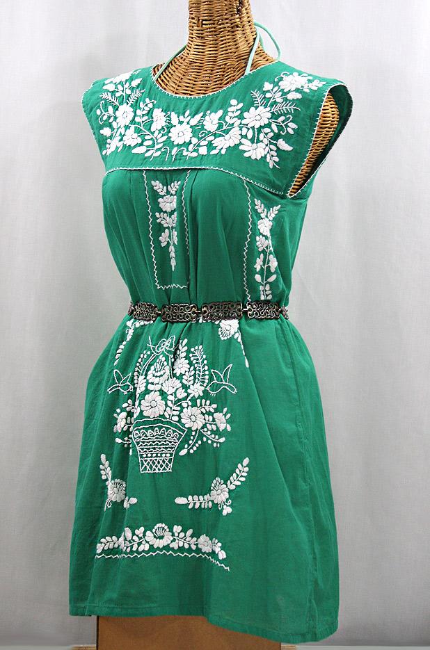 """""""La Boqueria"""" Embroidered Mexican Dress - Green + White"""