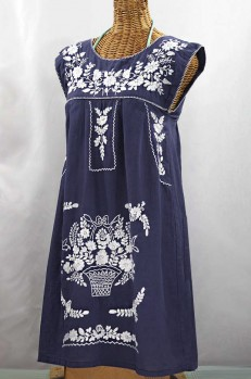 "60% Off Final Sale ""La Boqueria"" Embroidered Mexican Dress - Navy Blue + White"
