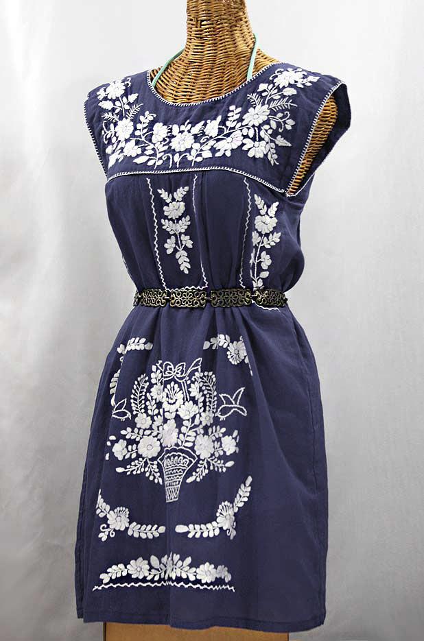 "60% Off Final Sale ""La Boqueria"" Embroidered Mexican Dress - Navy Blue + White"