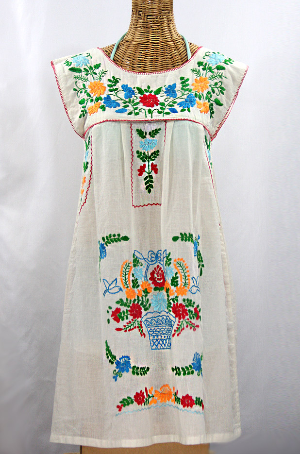 """La Boqueria"" Embroidered Mexican Dress - Off White + Fiesta"
