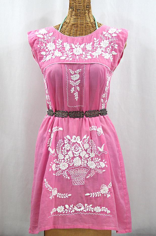 """""""La Boqueria"""" Embroidered Mexican Dress - Bubblegum Pink + White"""