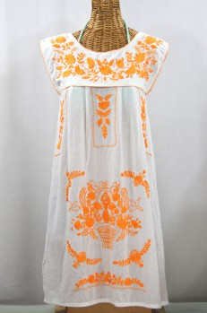 "60% Off Final Sale ""La Boqueria"" Embroidered Mexican Dress - White + Neon Orange"