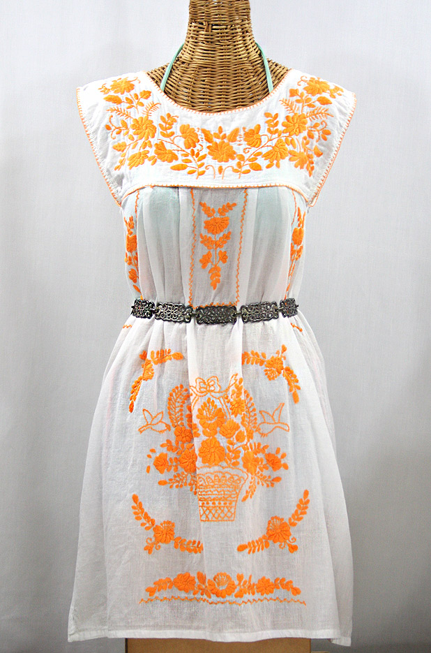 """""""La Boqueria"""" Embroidered Mexican Dress - White + Neon Orange"""