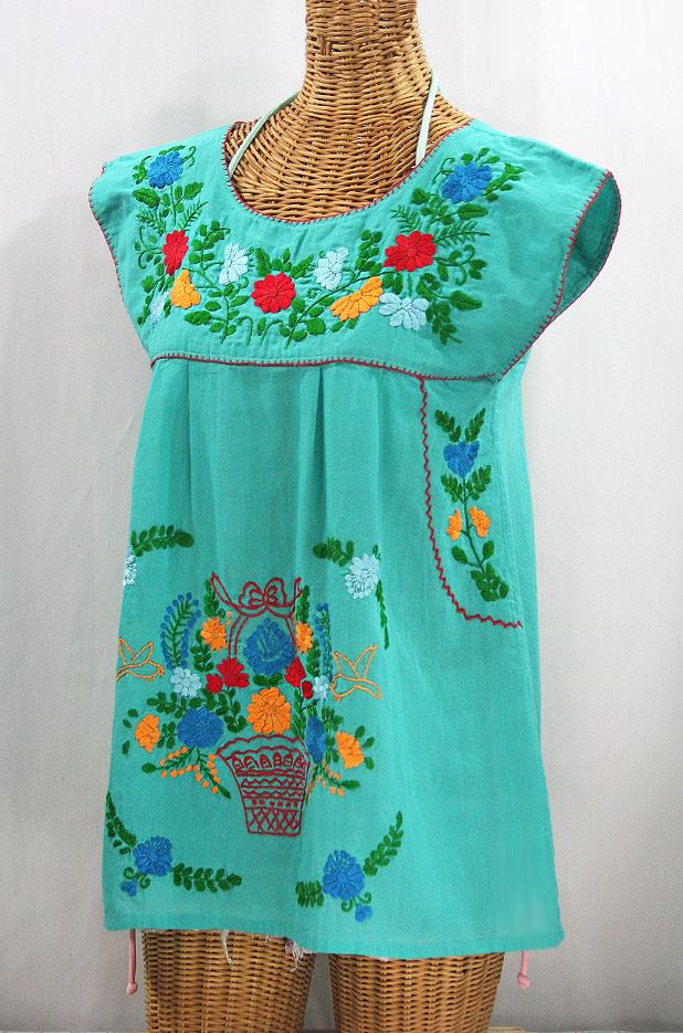 """La Boqueria"" Cap Sleeve Mexican Blouse -Mint + Fiesta"