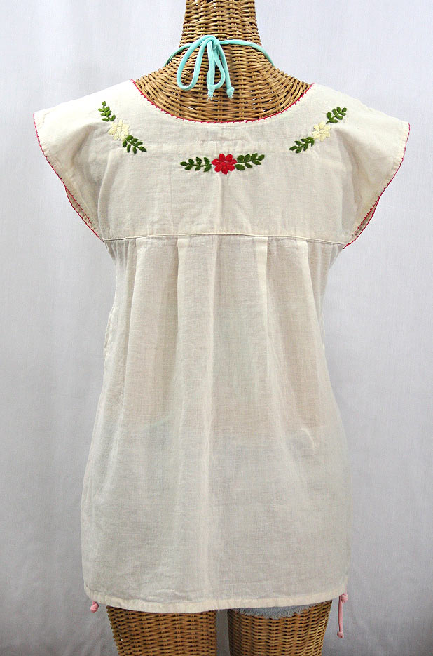 """La Boqueria"" Cap Sleeve Mexican Blouse - Off White + Multi"