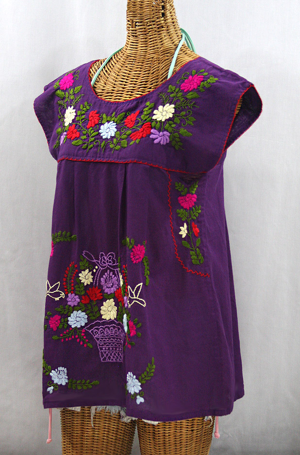"""La Boqueria"" Cap Sleeve Mexican Blouse - Purple + Multi"