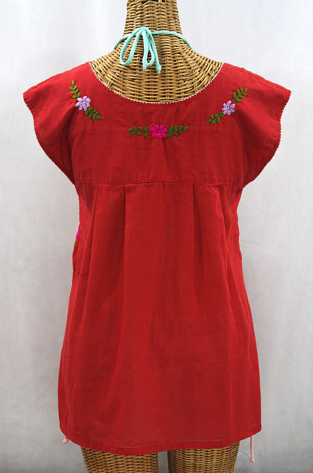 """La Boqueria"" Cap Sleeve Mexican Blouse - Red + Multi"