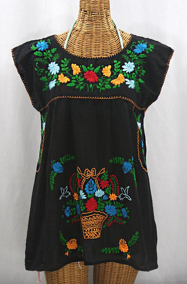 """La Boqueria"" Cap Sleeve Mexican Blouse - Black + Fiesta"