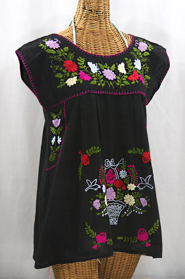 """La Boqueria"" Cap Sleeve Mexican Blouse - Black + Multi"