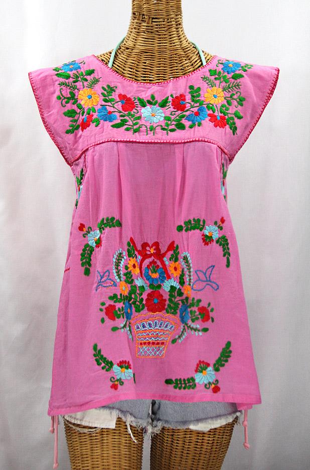 """""""La Boqueria"""" Cap Sleeve Mexican Blouse -Bubblegum Pink + Fiesta"""
