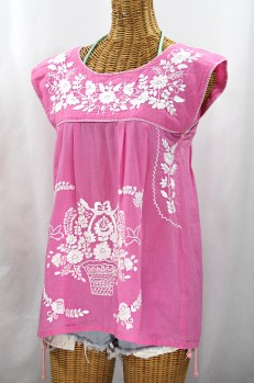 "Final Sale 40% Off -- ""La Boqueria"" Cap Sleeve Mexican Blouse -Bubblegum Pink + White"