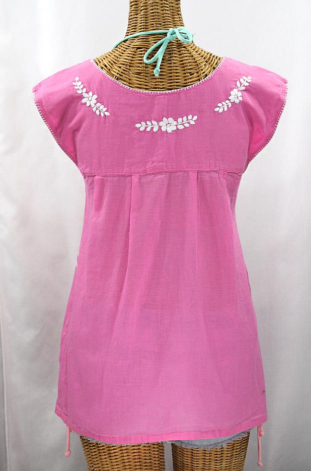 """""""La Boqueria"""" Cap Sleeve Mexican Blouse -Bubblegum Pink + White"""