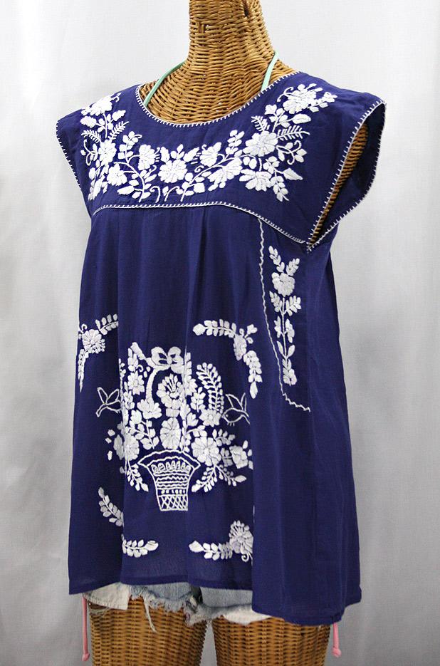 """La Boqueria"" Cap Sleeve Mexican Blouse -Denim Blue + White"
