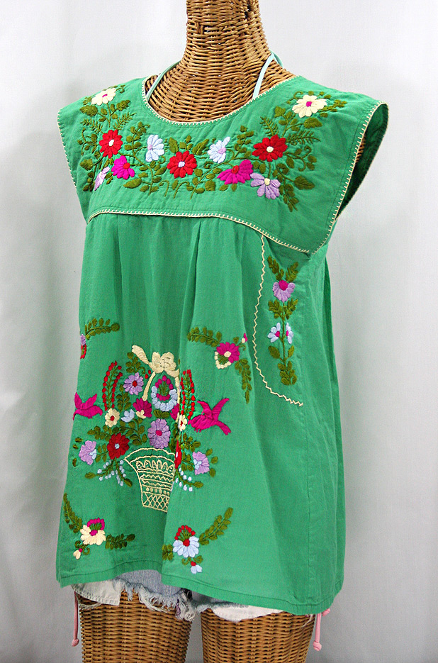 """La Boqueria"" Cap Sleeve Mexican Blouse -Green + Multi"