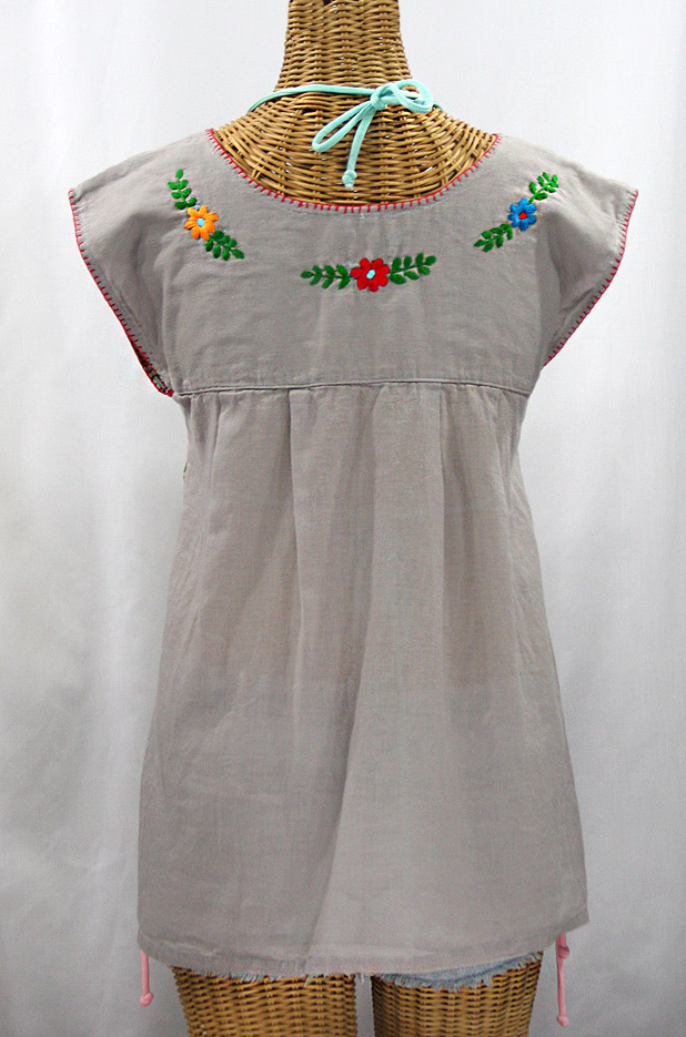 "Final Sale 40% Off -- ""La Boqueria"" Cap Sleeve Mexican Blouse -Grey + Fiesta"