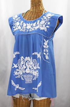 """La Boqueria"" Cap Sleeve Mexican Blouse -Light Blue + White"