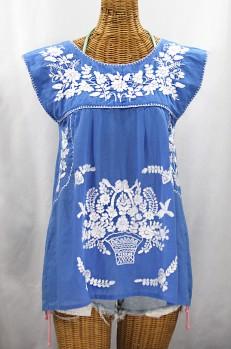 """La Boqueria"" Cap Sleeve Mexican Blouse -Light Blue + White"