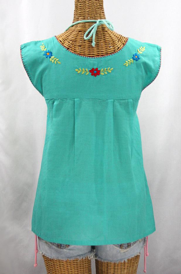 """La Boqueria"" Cap Sleeve Mexican Blouse -Mint + Spring Fiesta"