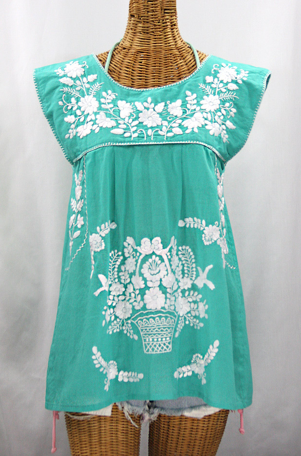 """La Boqueria"" Cap Sleeve Mexican Blouse -Mint + White"