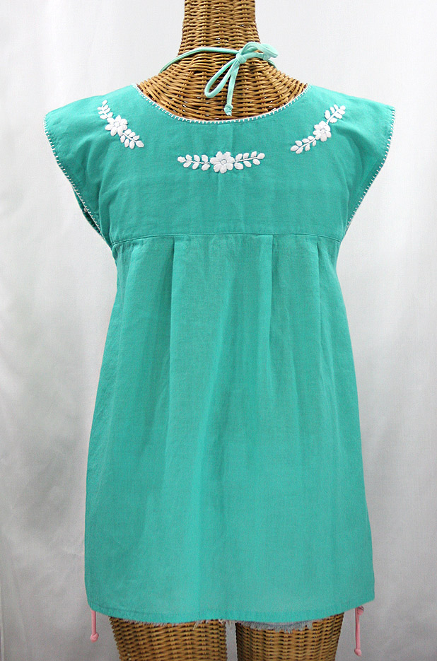 "Final Sale 40% Off -- ""La Boqueria"" Cap Sleeve Mexican Blouse -Mint + White"