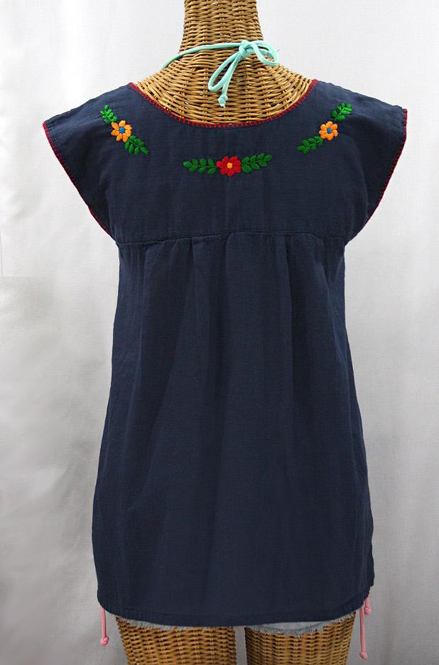 """La Boqueria"" Cap Sleeve Mexican Blouse -Navy Blue + Fiesta"