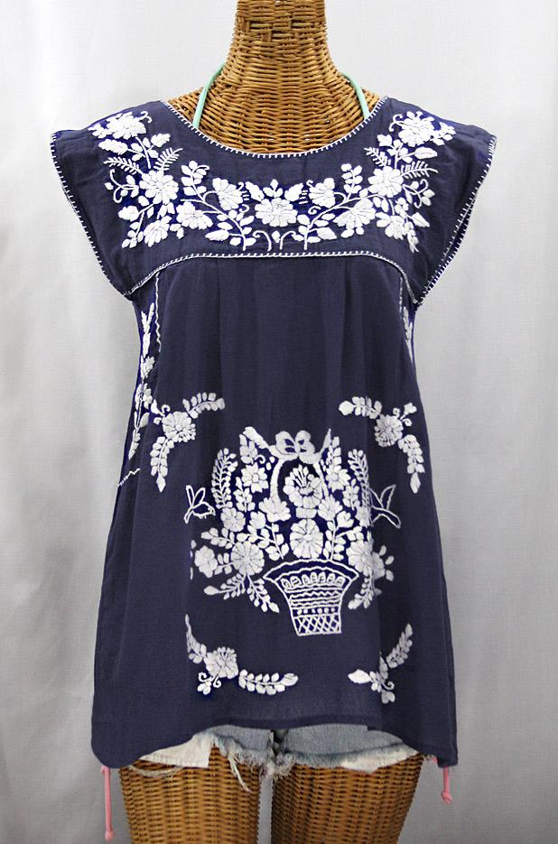 """Final Sale 40% Off -- """"La Boqueria"""" Cap Sleeve Mexican Blouse -Navy Blue + White"""