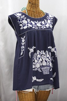 "Final Sale 40% Off -- ""La Boqueria"" Cap Sleeve Mexican Blouse -Navy Blue + White"