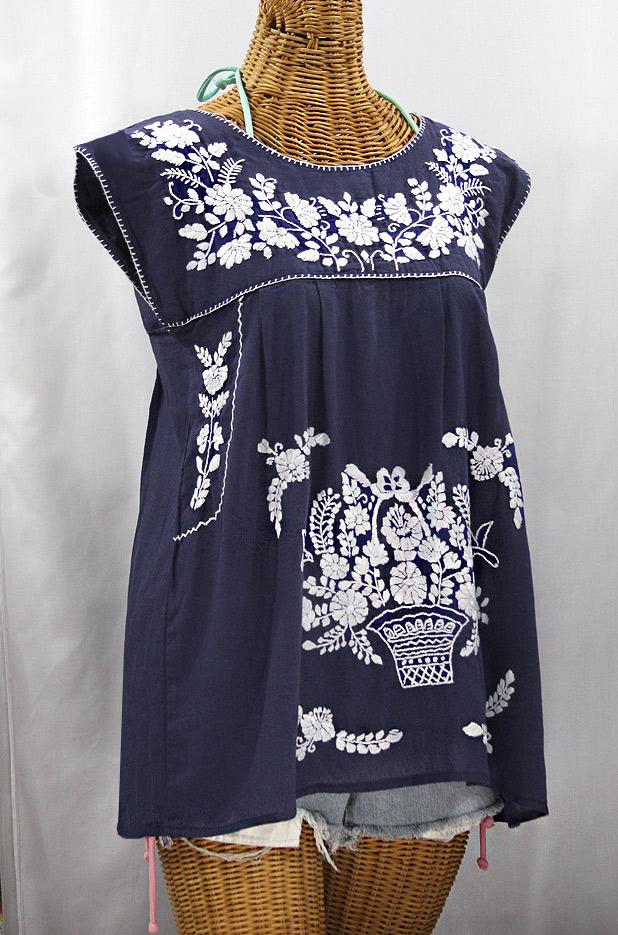 """""""La Boqueria"""" Cap Sleeve Mexican Blouse -Navy Blue + White"""