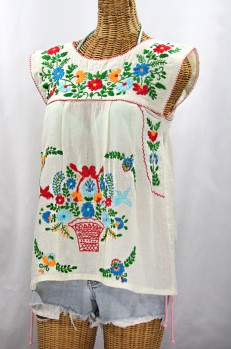 """La Boqueria"" Cap Sleeve Mexican Blouse -Off White + Fiesta"