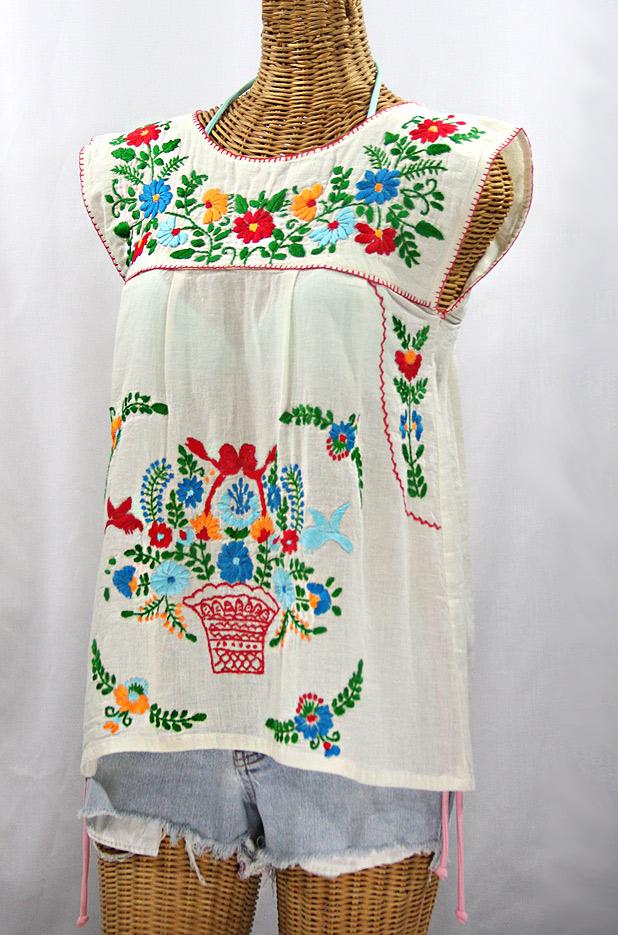 """""""La Boqueria"""" Cap Sleeve Mexican Blouse -Off White + Fiesta"""