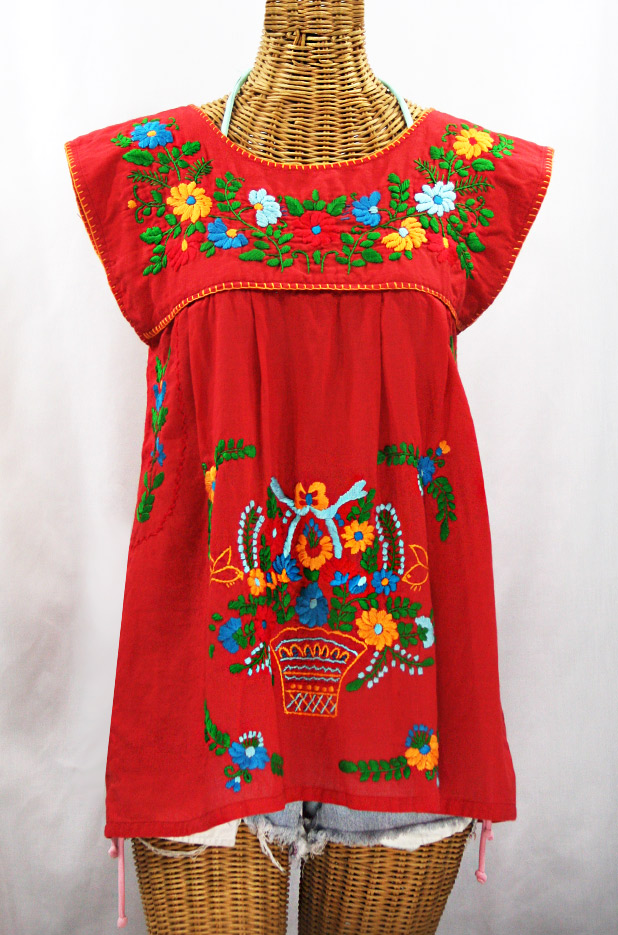 """La Boqueria"" Cap Sleeve Mexican Blouse -Red + Fiesta"