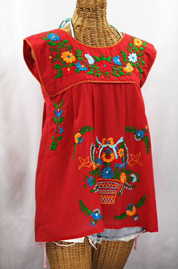 """La Boqueria"" Cap Sleeve Mexican Blouse -Red + Fiesta"