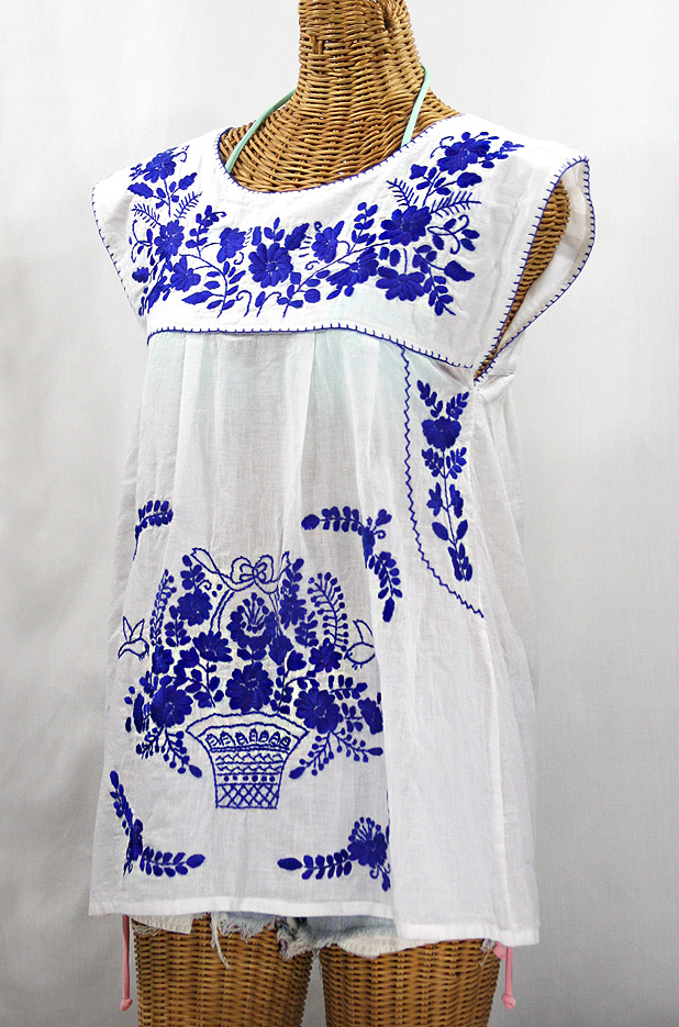 """La Boqueria"" Cap Sleeve Mexican Blouse -White + Blue"