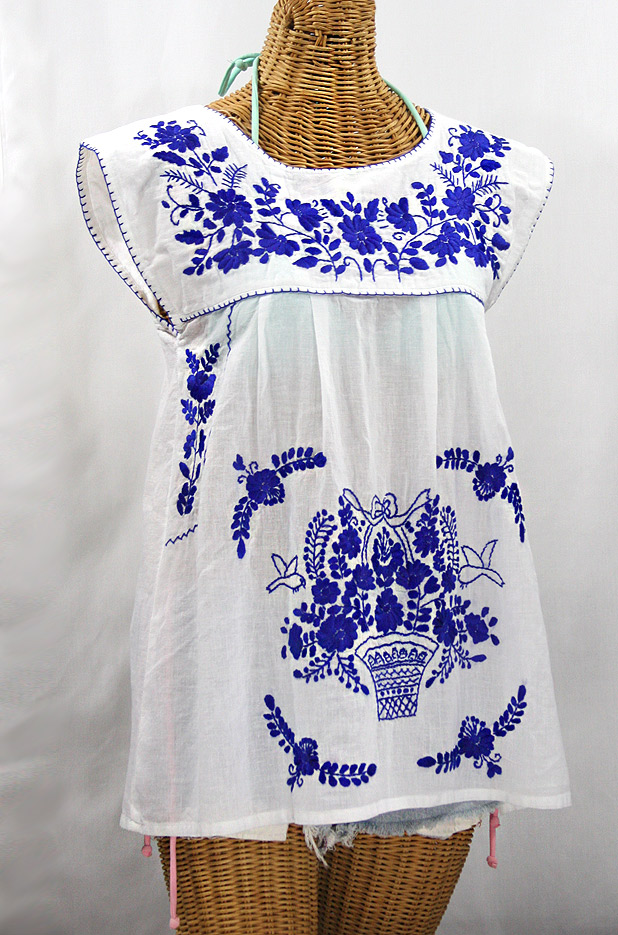 """La Boqueria"" Cap Sleeve Mexican Blouse -White + Blue"