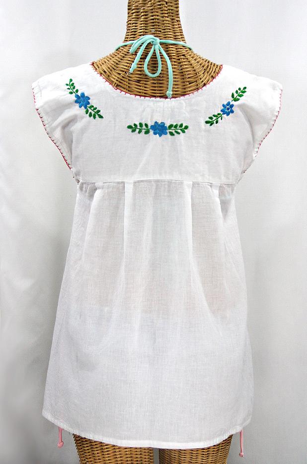 """""""La Boqueria"""" Cap Sleeve Mexican Blouse -White + Fiesta"""