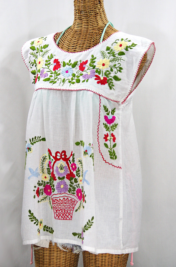 """La Boqueria"" Cap Sleeve Mexican Blouse -White + Multi"