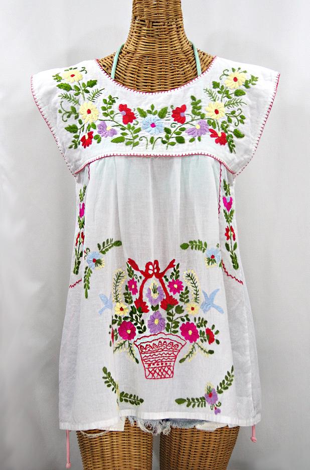 """""""La Boqueria"""" Cap Sleeve Mexican Blouse -White + Multi"""