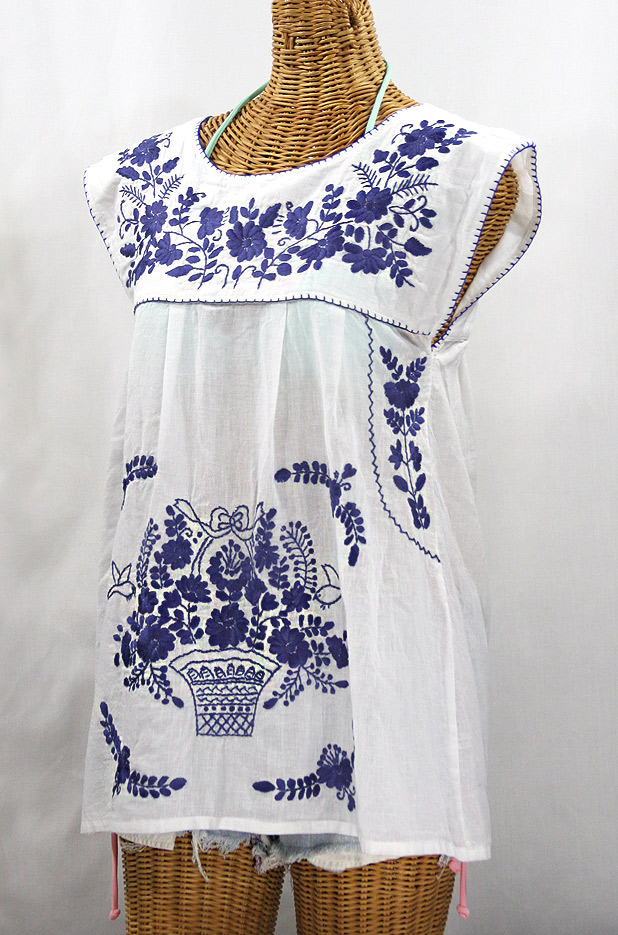 """La Boqueria"" Cap Sleeve Mexican Blouse -White + Navy"