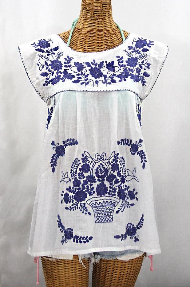 """La Boqueria"" Cap Sleeve Mexican Blouse -White + Navy"