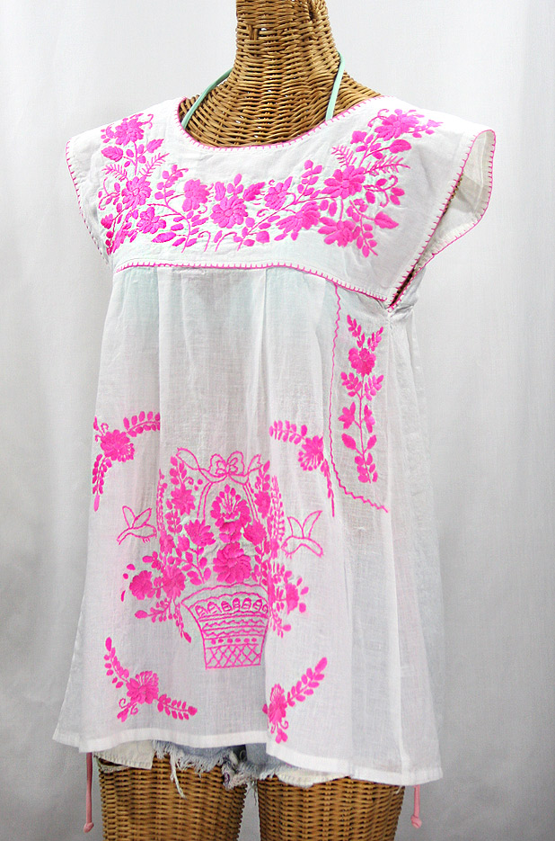 """La Boqueria"" Cap Sleeve Mexican Blouse -White + Neon Pink"