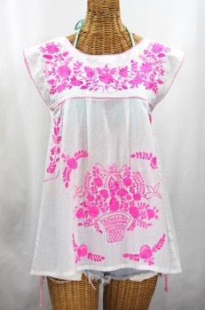 "Final Sale 40% Off -- ""La Boqueria"" Cap Sleeve Mexican Blouse -White + Neon Pink"