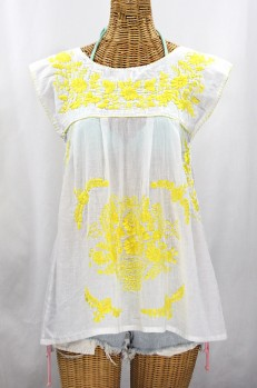 "Final Sale 40% Off -- ""La Boqueria"" Cap Sleeve Mexican Blouse -White + Neon Yellow"